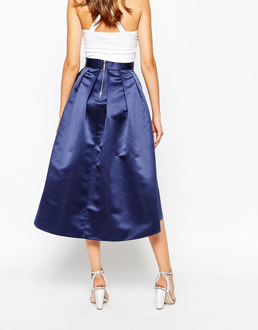closet box pleat high low skirt in sateen in blue lyst
