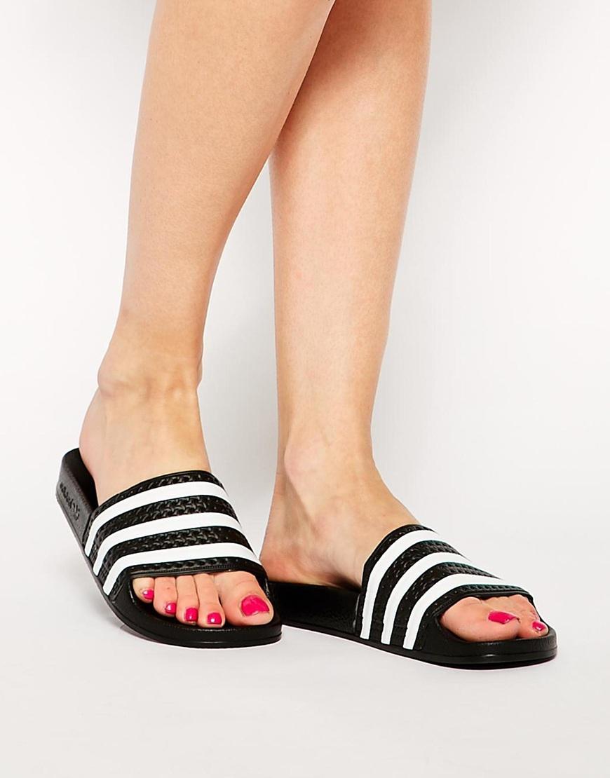 63f683cb51e0 Lyst - adidas Originals Originals Adilette Black   White Stripe ...
