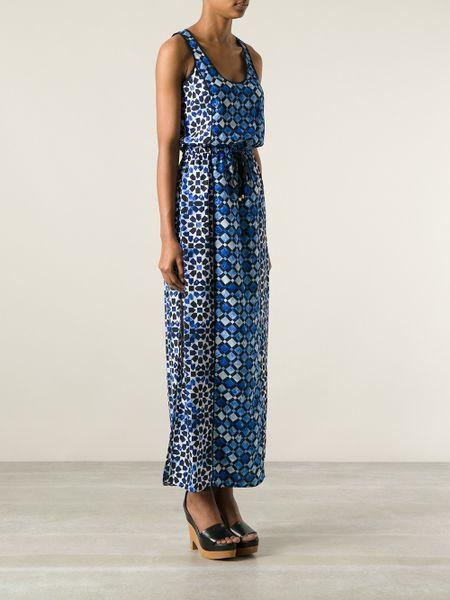 Michael Michael Kors Geometric Print Maxi Dress In Blue Lyst