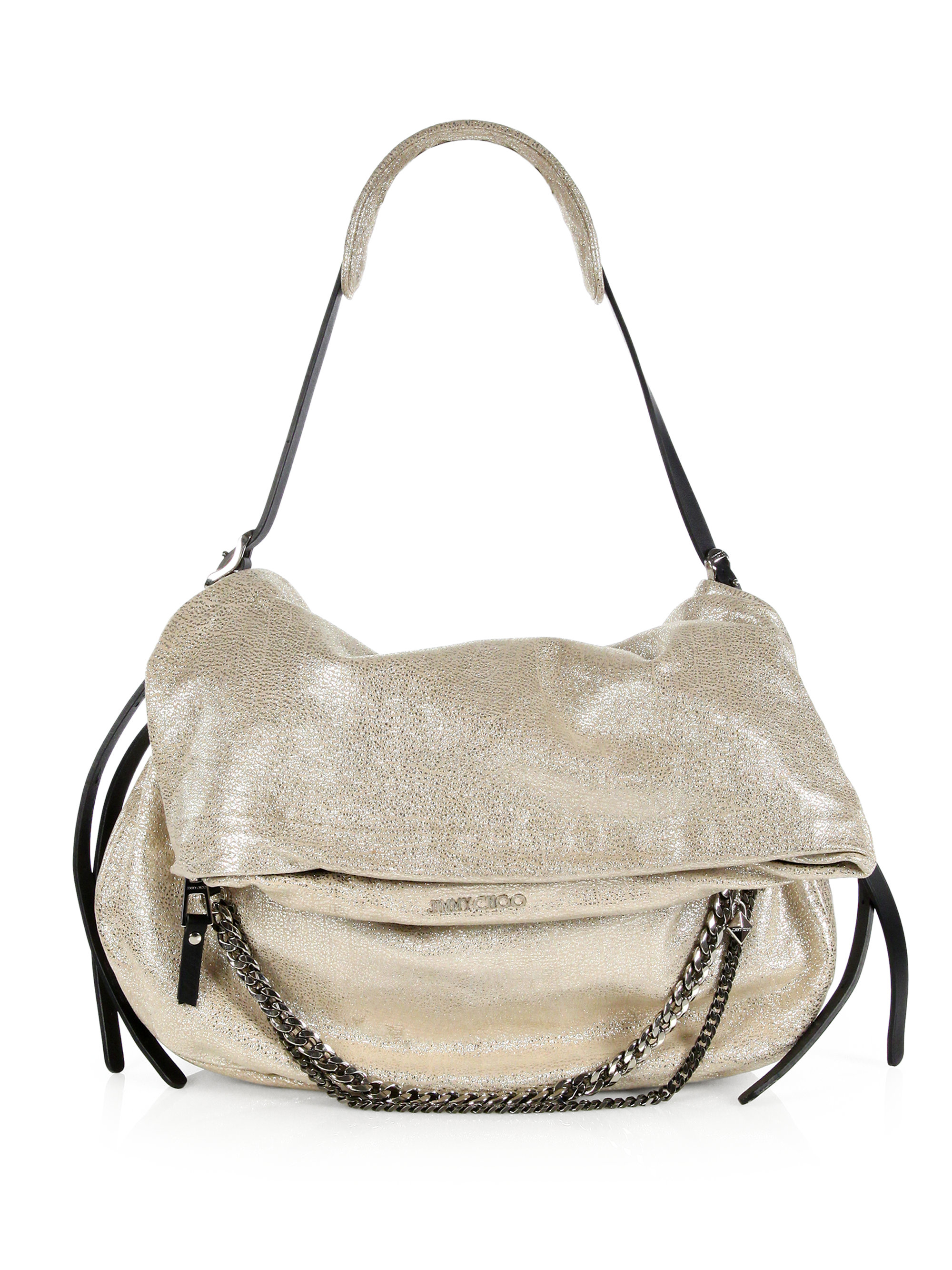 5eddac91de Jimmy Choo Biker Metallic Leather Shoulder Bag in Metallic - Lyst