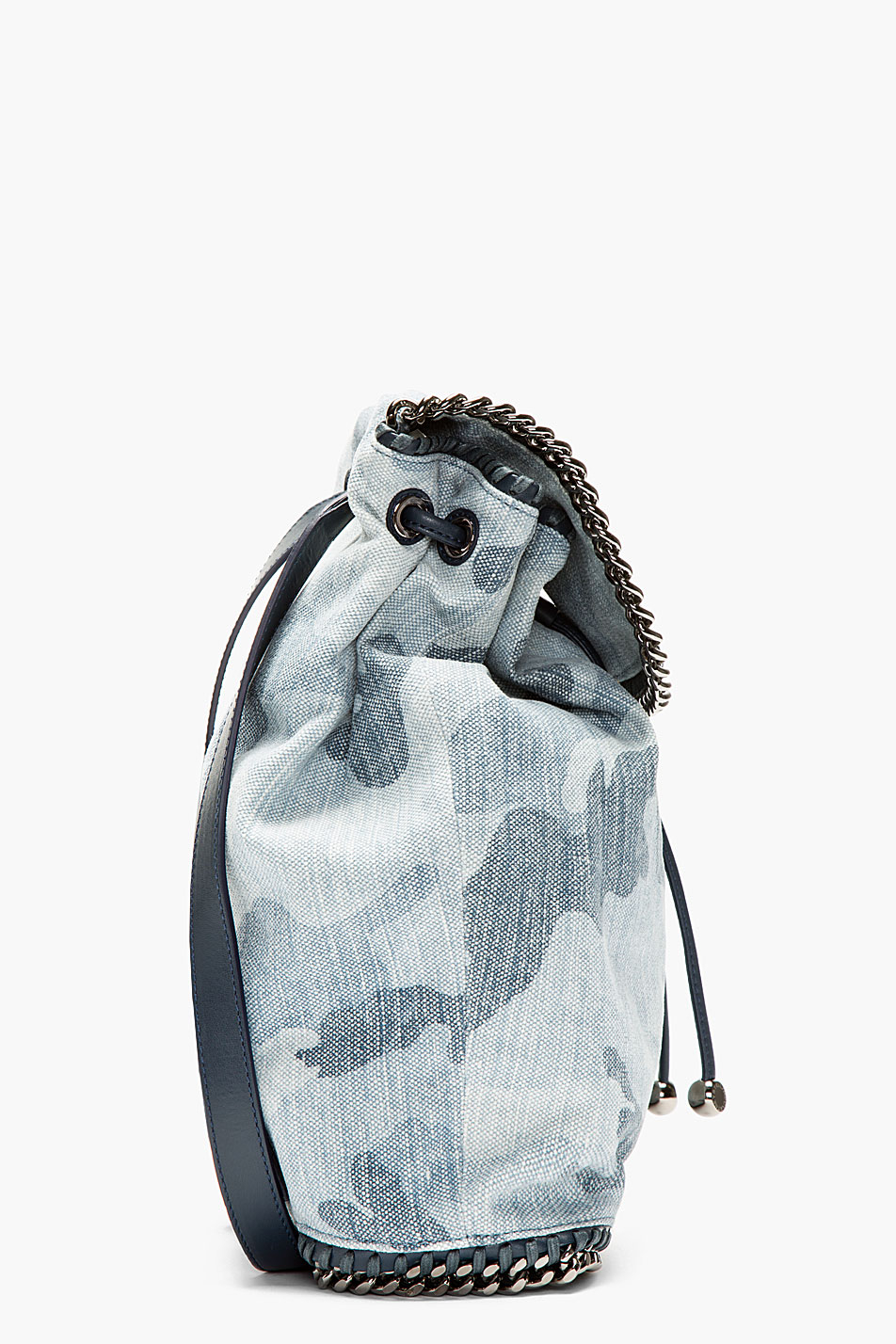 stella mccartney pale blue chain trimmed camo rucksack in blue lyst. Black Bedroom Furniture Sets. Home Design Ideas