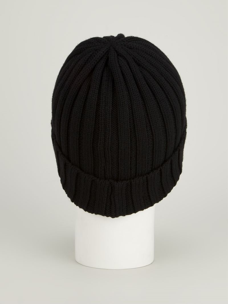 Lyst - Moncler Ribbed Beanie Hat in Black 5b93d0e07f7