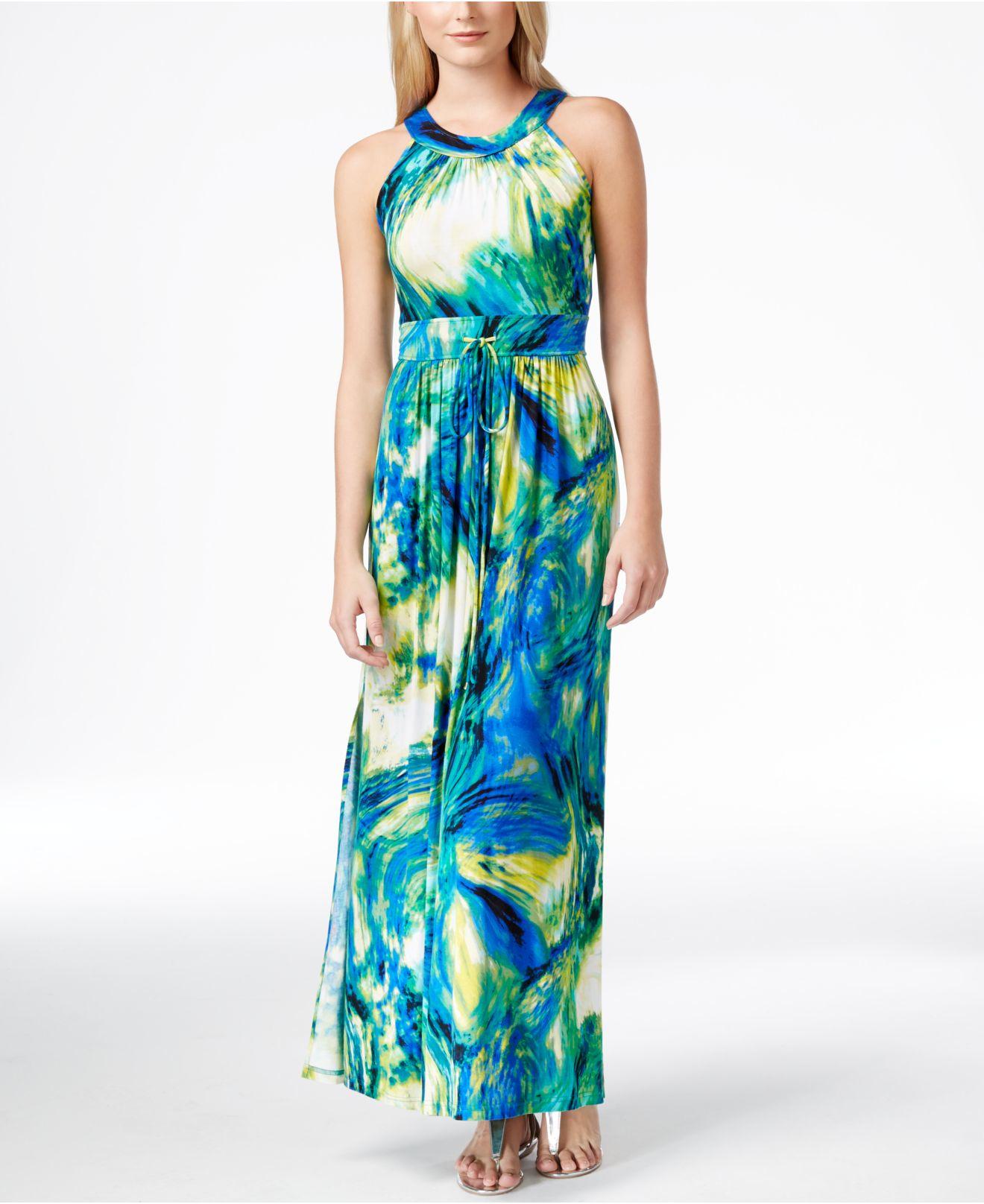 7af82286127 Lyst - Calvin Klein Abstract-painterly-print Halter-neck Maxi Dress ...