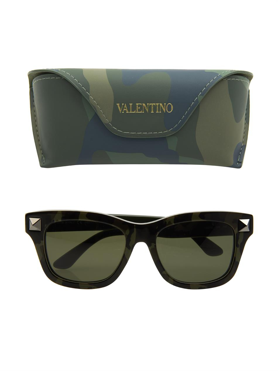93ce14ee5fb Valentino Camouflage-Print Square-Framed Sunglasses in Green for Men - Lyst