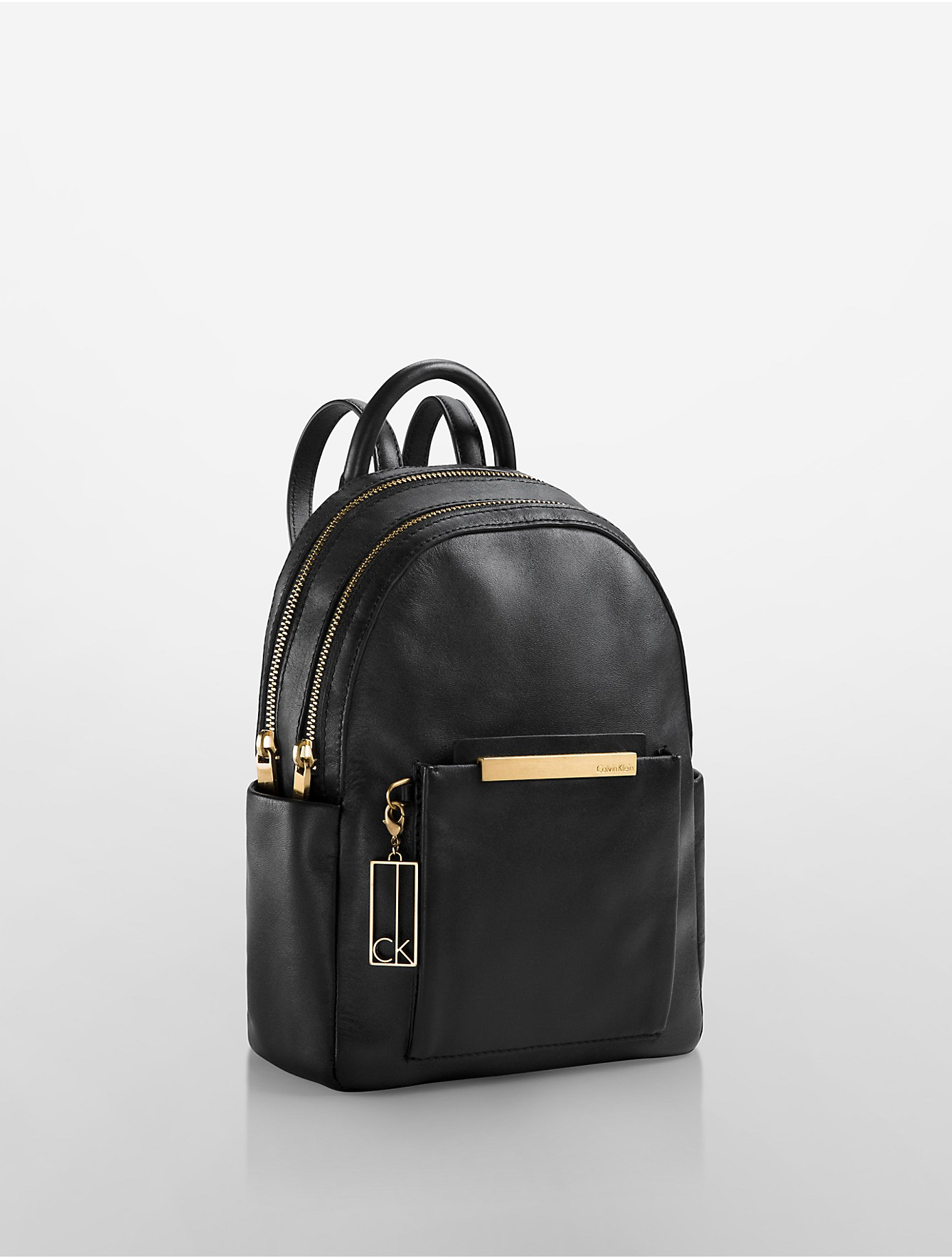 calvin klein kenner leather double zip studio backpack in. Black Bedroom Furniture Sets. Home Design Ideas