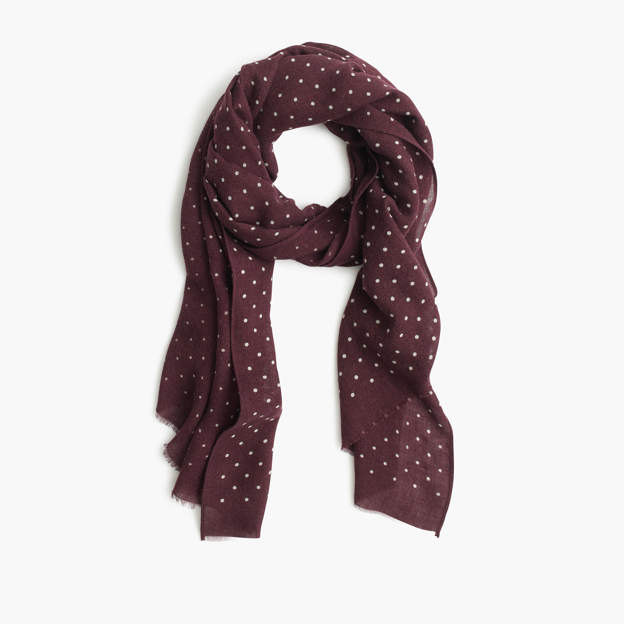 lyst j crew lightweight wool silk dotted scarf in purple. Black Bedroom Furniture Sets. Home Design Ideas