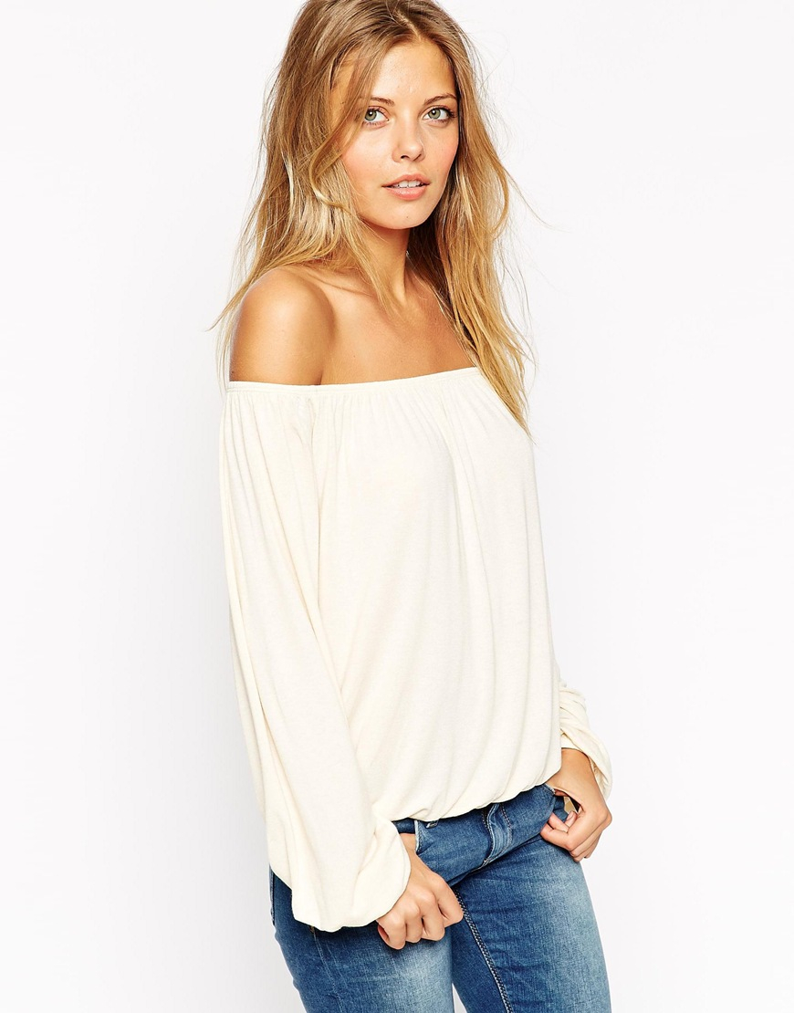 Lyst Asos Off Shoulder Top In Slouchy Fabric In Natural