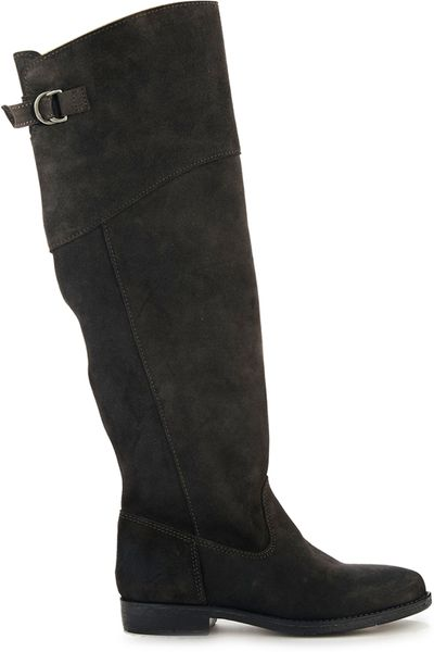 asos countdown suede knee high boots in gray grey lyst