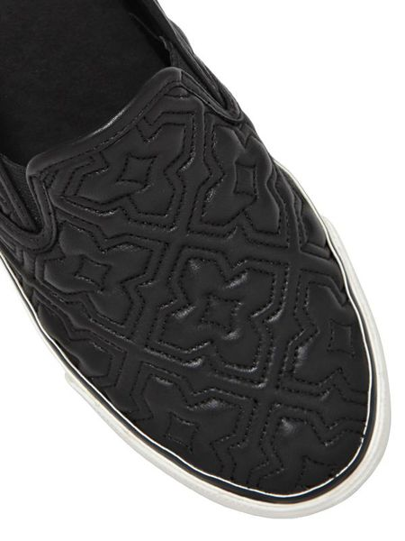 Tory Burch Jesse Quilted Leather Slip On Sneakers In Black