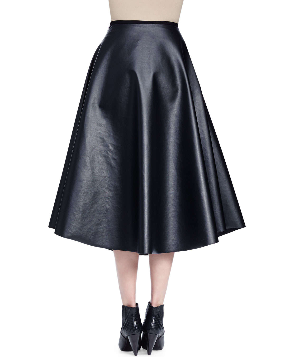 lanvin leather midi skirt in black lyst