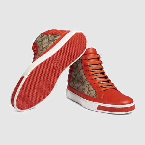 abdd55586 Gucci Gg Supreme High-top Sneaker in Orange - Lyst