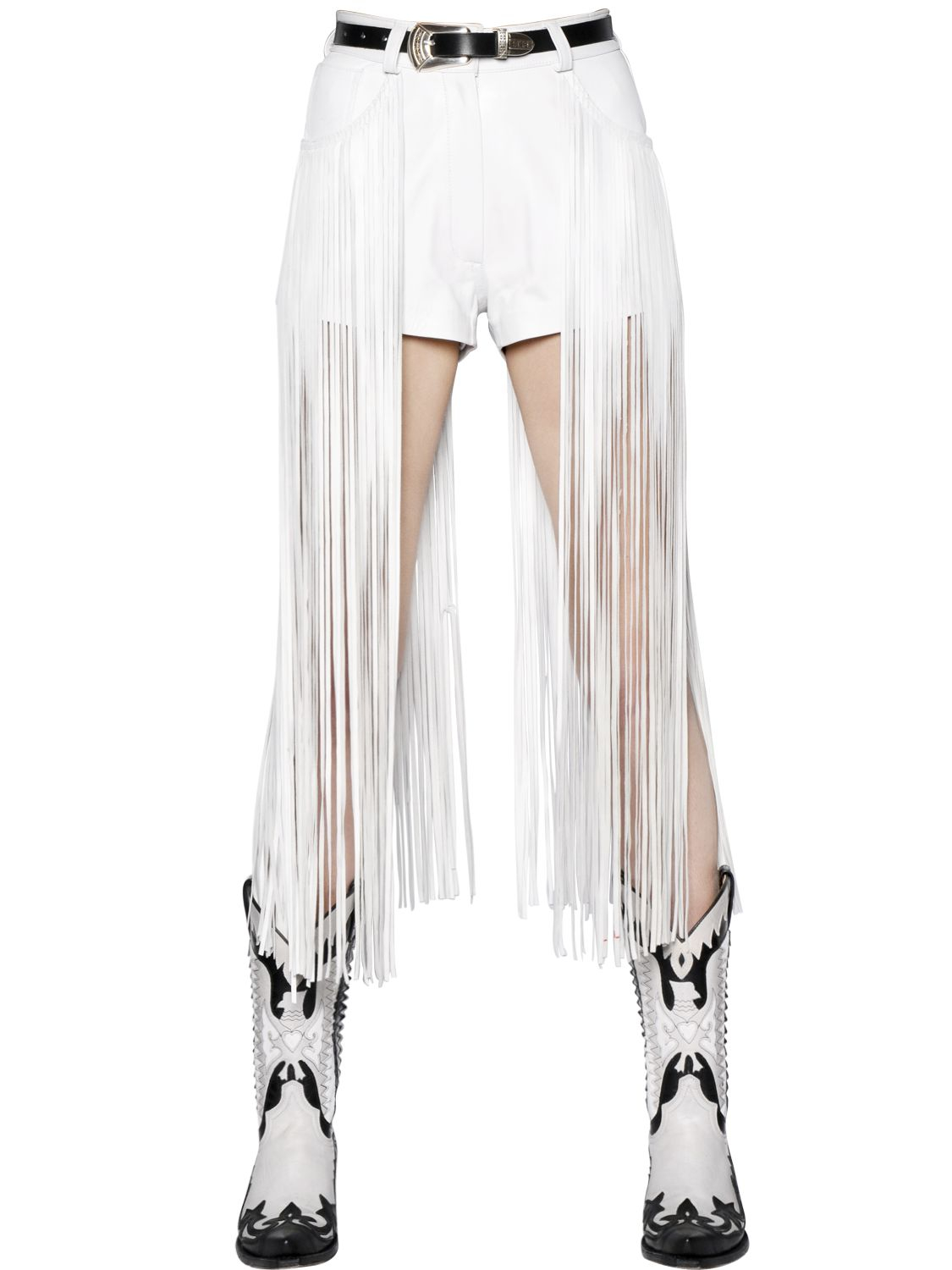 Maria escoté High Waisted Fringed Leather Shorts in White | Lyst