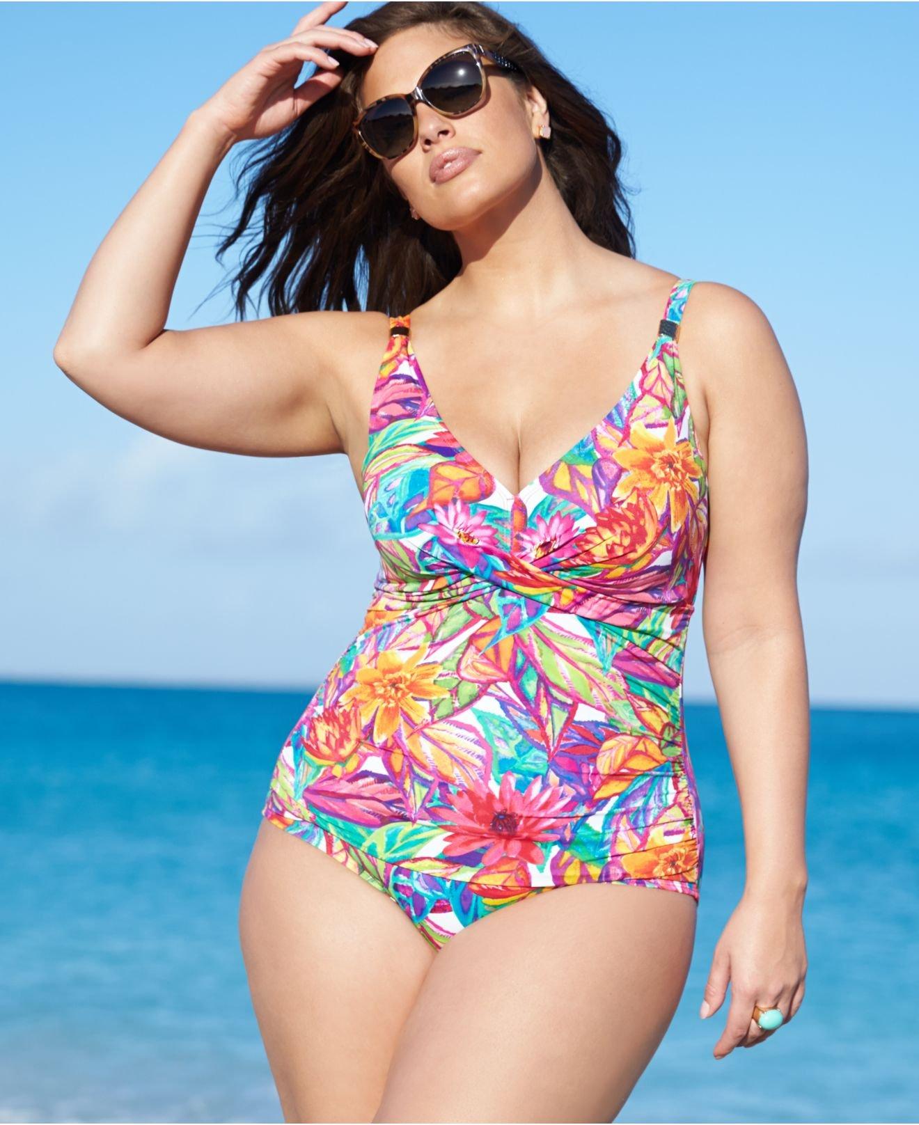 bdd4340da1d Lyst - Lauren by Ralph Lauren Plus Size Printed One-Piece Swimsuit