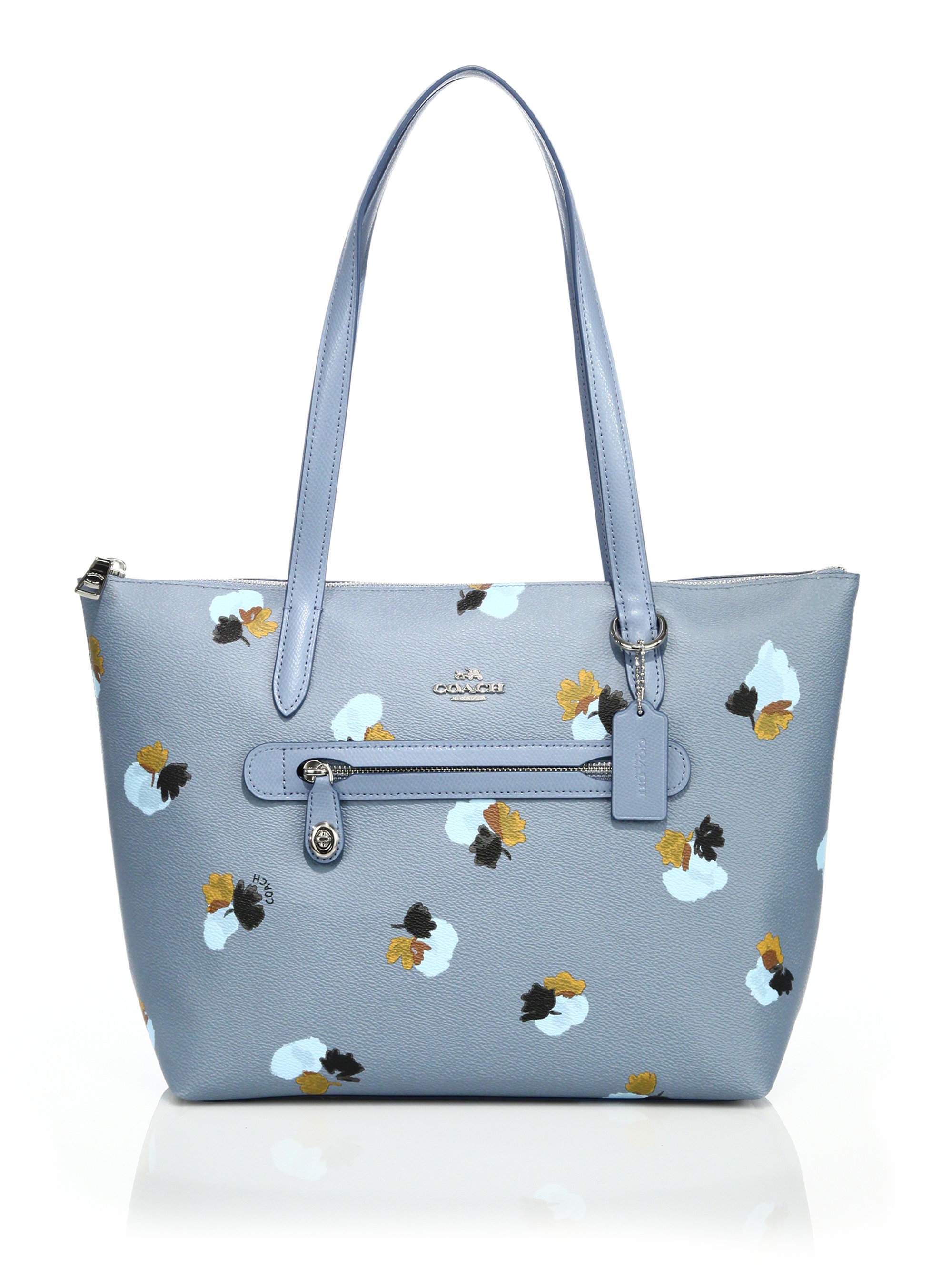 Lyst - Coach Taylor Floral-print Coated Canvas Tote In Blue