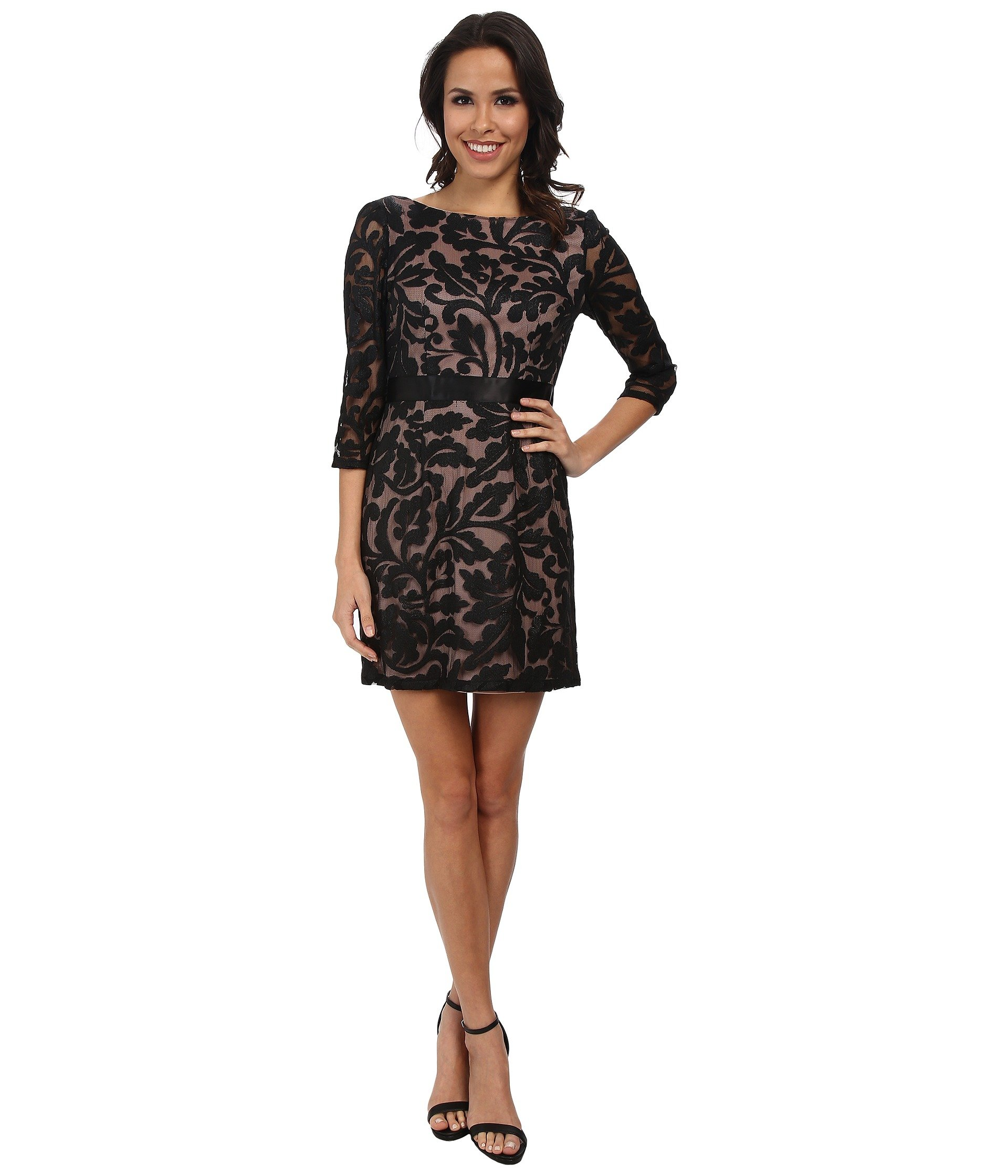 ... papell 3/4 Sleeve Embroidered Lace Cocktail Dress in Black | Lyst
