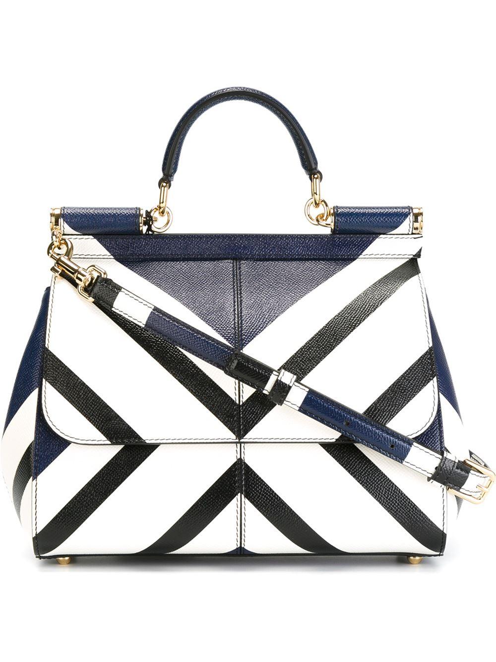 Lyst - Dolce   Gabbana Striped Print Miss Sicily Medium Handbag in Blue c6cf97e4a9f82