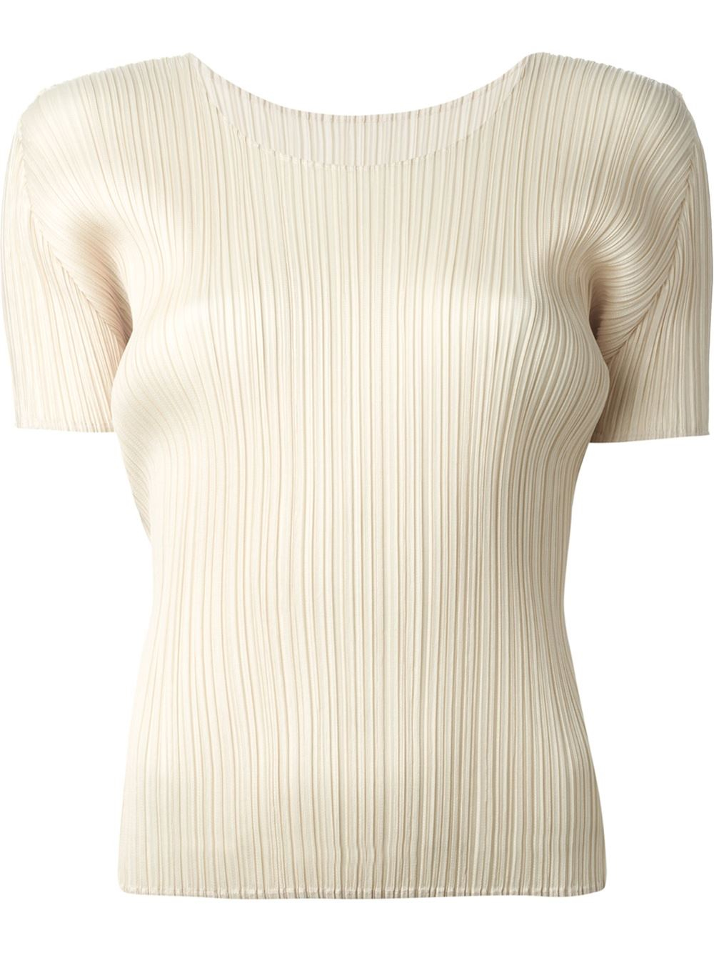 31745aeabc50f Pleats Please Issey Miyake Pleated T-Shirt in Natural - Lyst