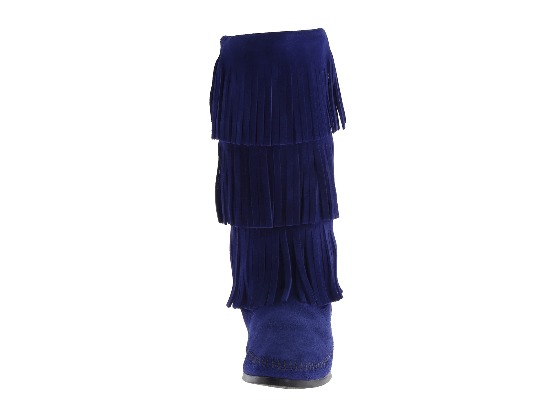 Minnetonka 3 Layer Fringe Boot in Blue | Lyst