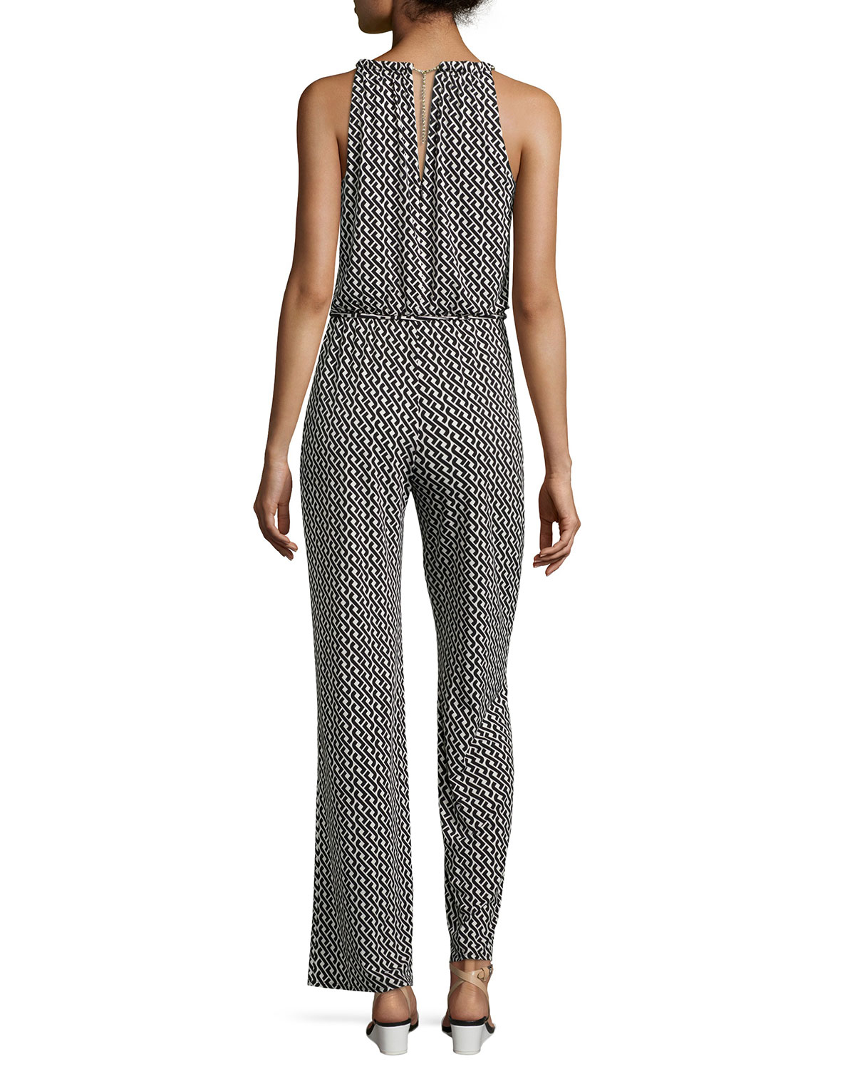 dd9c97713d8 Lyst - Laundry by Shelli Segal Geo-Print Chain-Neck Jumpsuit in Black