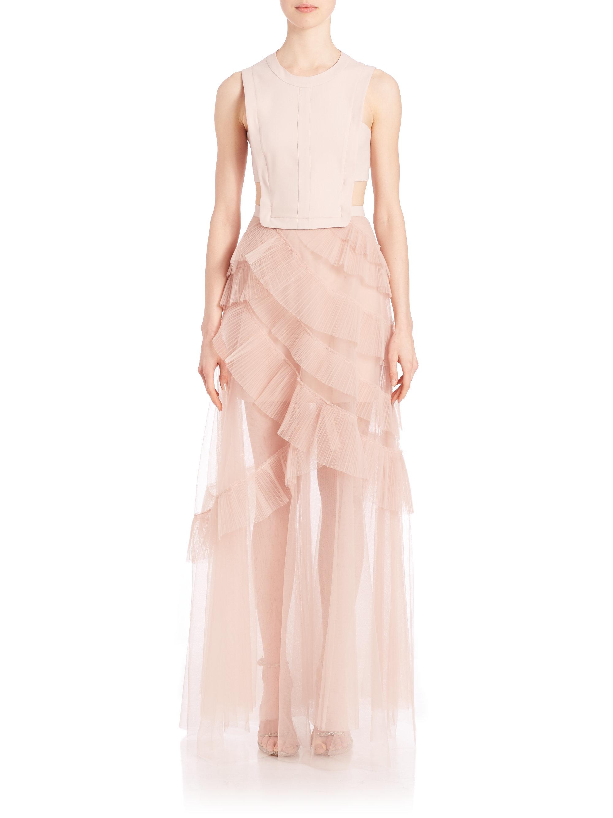 Lyst - Bcbgmaxazria Avalon Sheer Cutout Gown in Pink