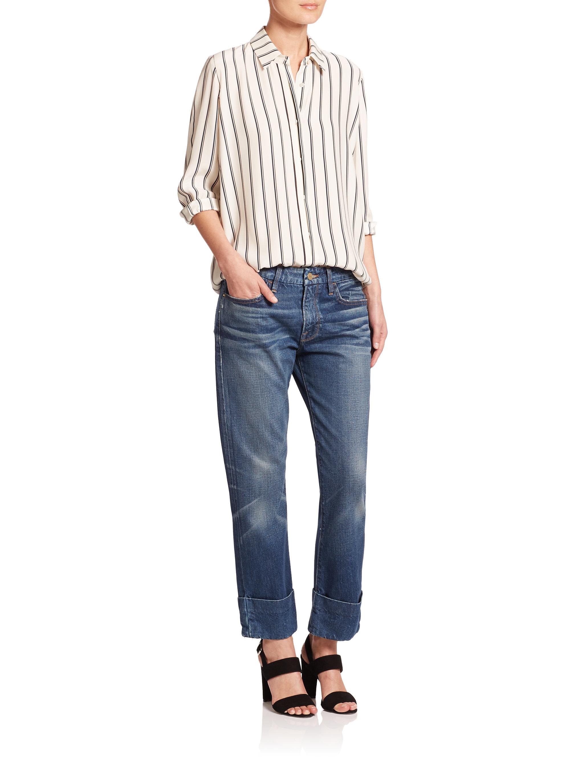 Lyst Frame Le Grand Garcon Boyfriend Jeans In Blue