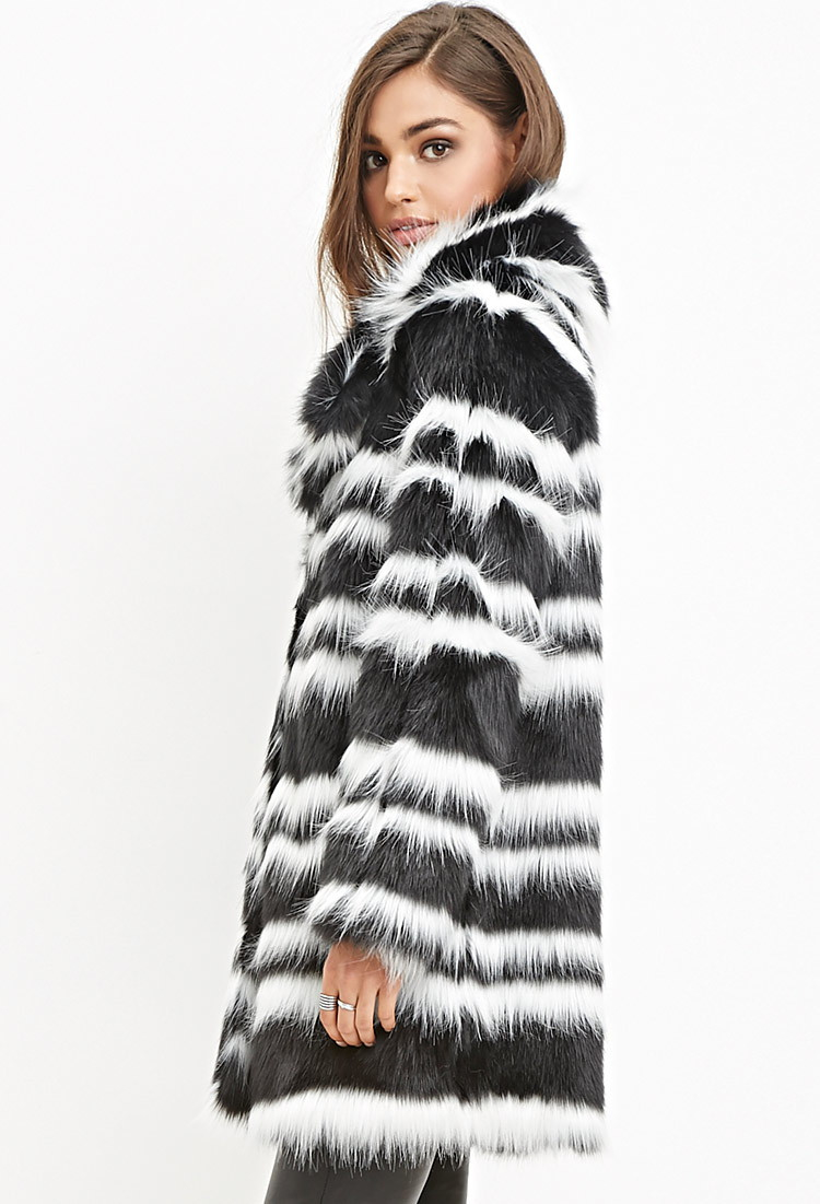 Forever 21 Striped Faux Fur Coat You Ve Been Added To The