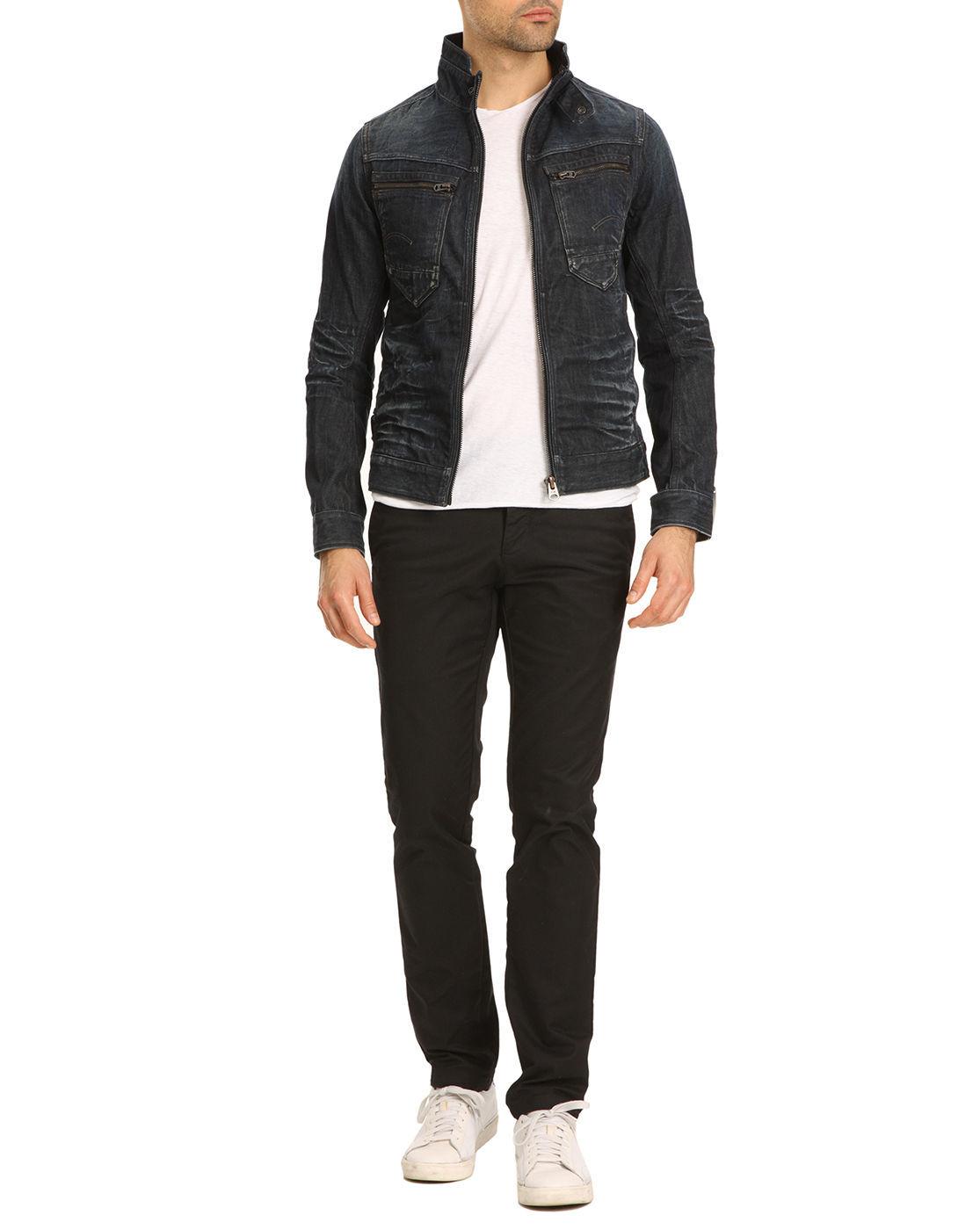 g star raw arc zip 3d slim denim jacket in blue for men. Black Bedroom Furniture Sets. Home Design Ideas