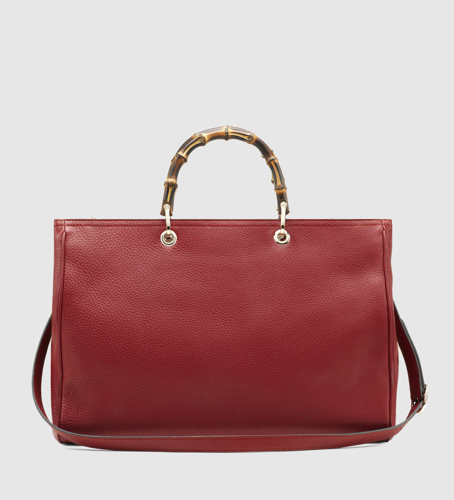 gucci bamboo shopper leather tote in red lyst. Black Bedroom Furniture Sets. Home Design Ideas