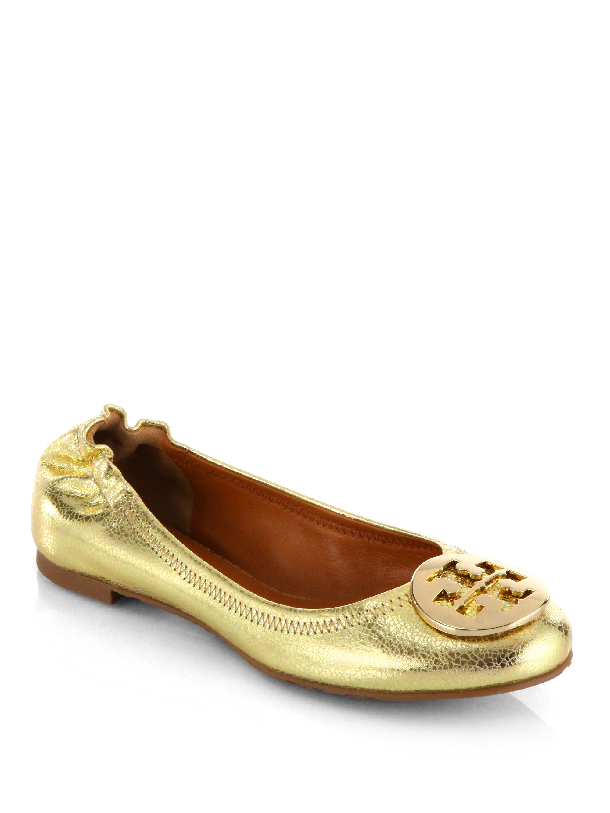 2665fa3ba3a1c Lyst - Tory Burch Reva Crackled Metallic Leather Ballet Flats in ...