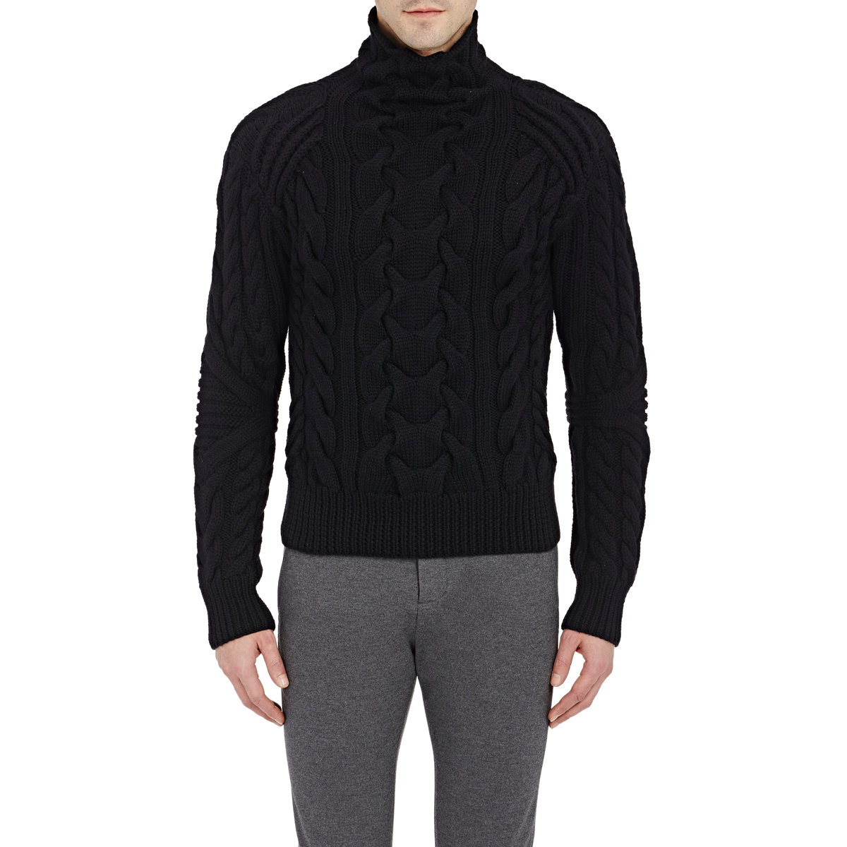 Ralph lauren black label Cable-knit Turtleneck Sweater in Black ...