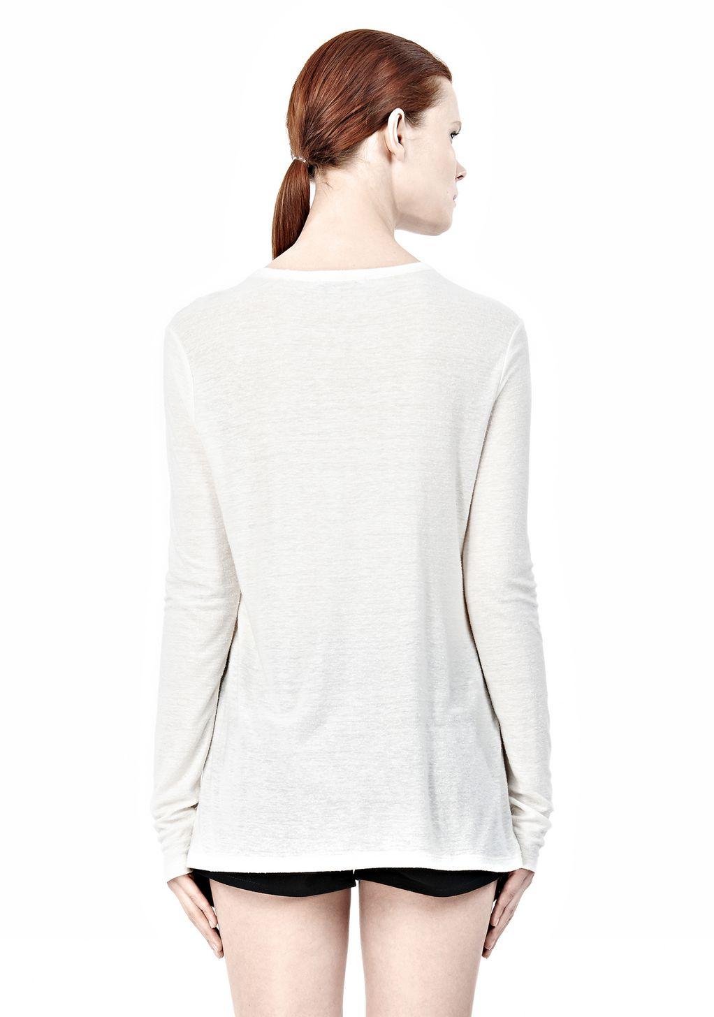 Alexander wang slub classic long sleevetee in natural lyst for Adam lippes women s long sleeve vee t shirt