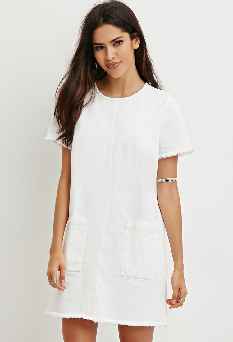 66ae43f74d Forever 21 Frayed Denim Shift Dress in Natural - Lyst