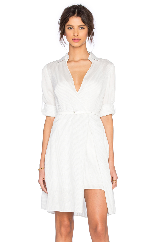 Halston Shirt Dress In White Lyst