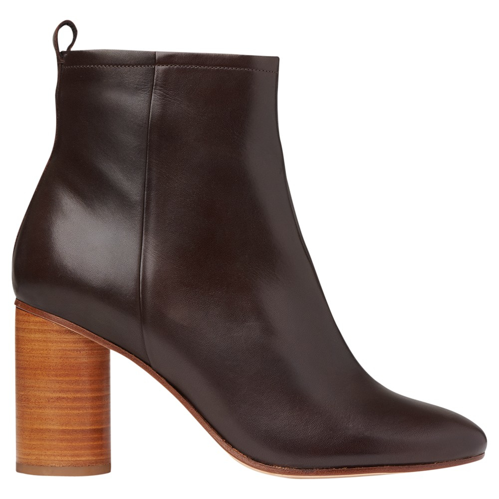 whistles camb stacked heel ankle boots in brown lyst