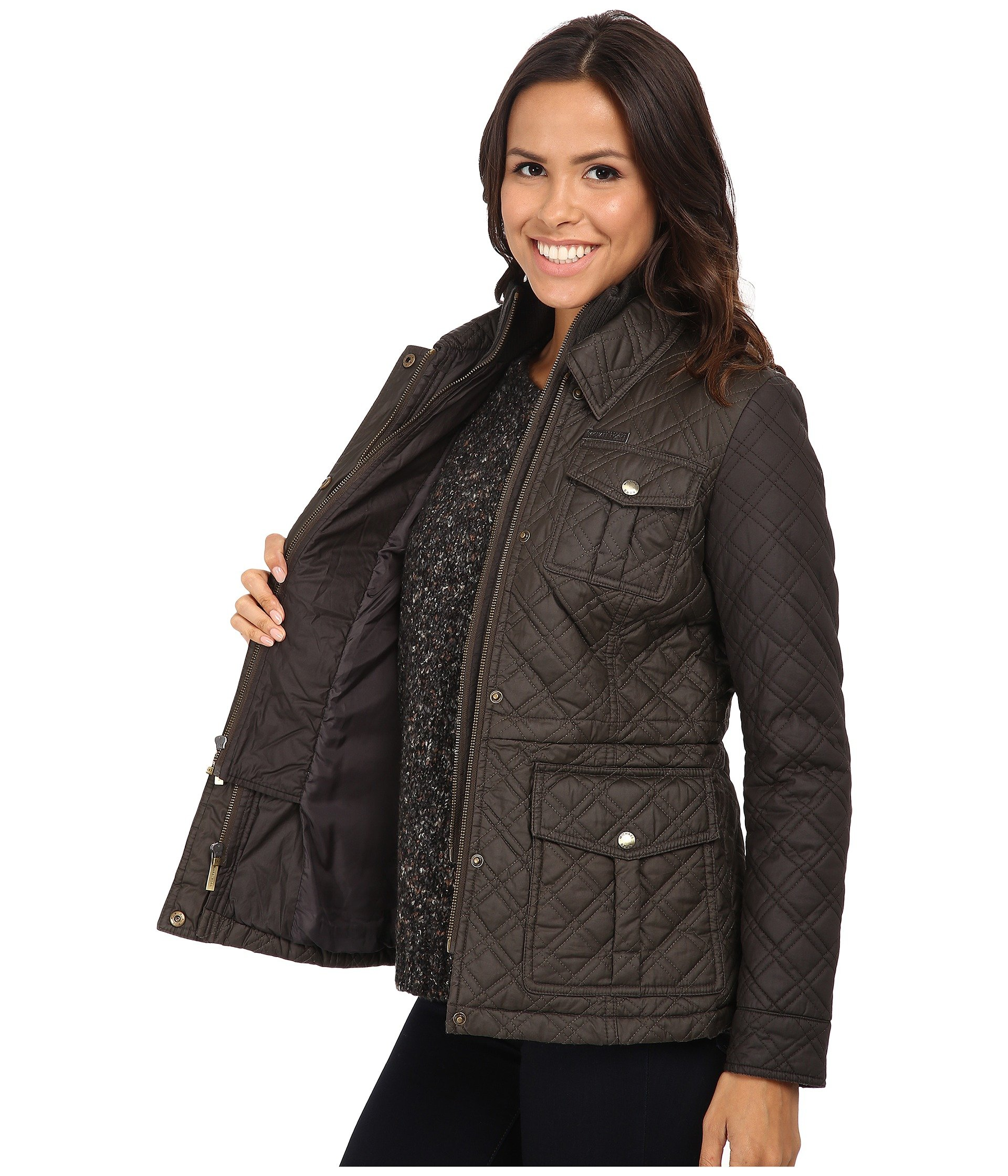 Lyst - MICHAEL Michael Kors Quilted Field Jacket W  Bib in Gray 30d737a0323e