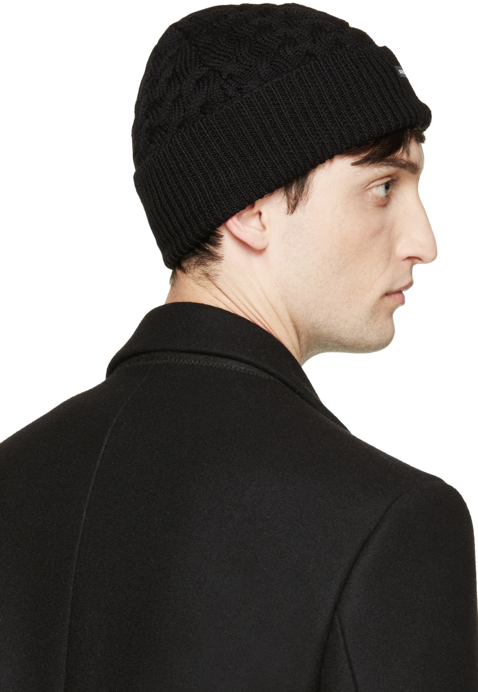 Lyst - Dolce   Gabbana Black Wool Cable Knit Beanie in Black for Men 05b9013dbcb