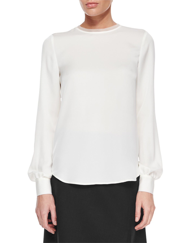 48a67c6423 Super Lyst - Theory Eri Long-sleeve Silk Blouse in White VX67