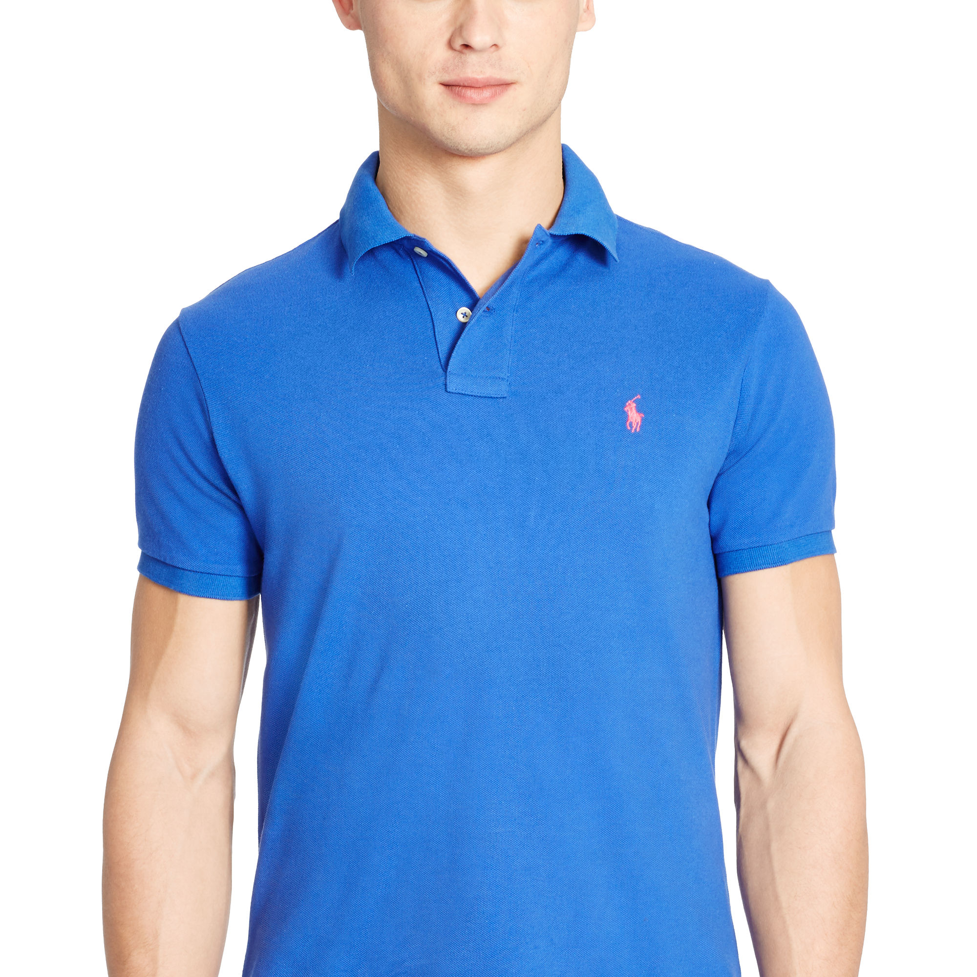 Lyst polo ralph lauren custom fit mesh polo shirt in for Custom polo shirts canada