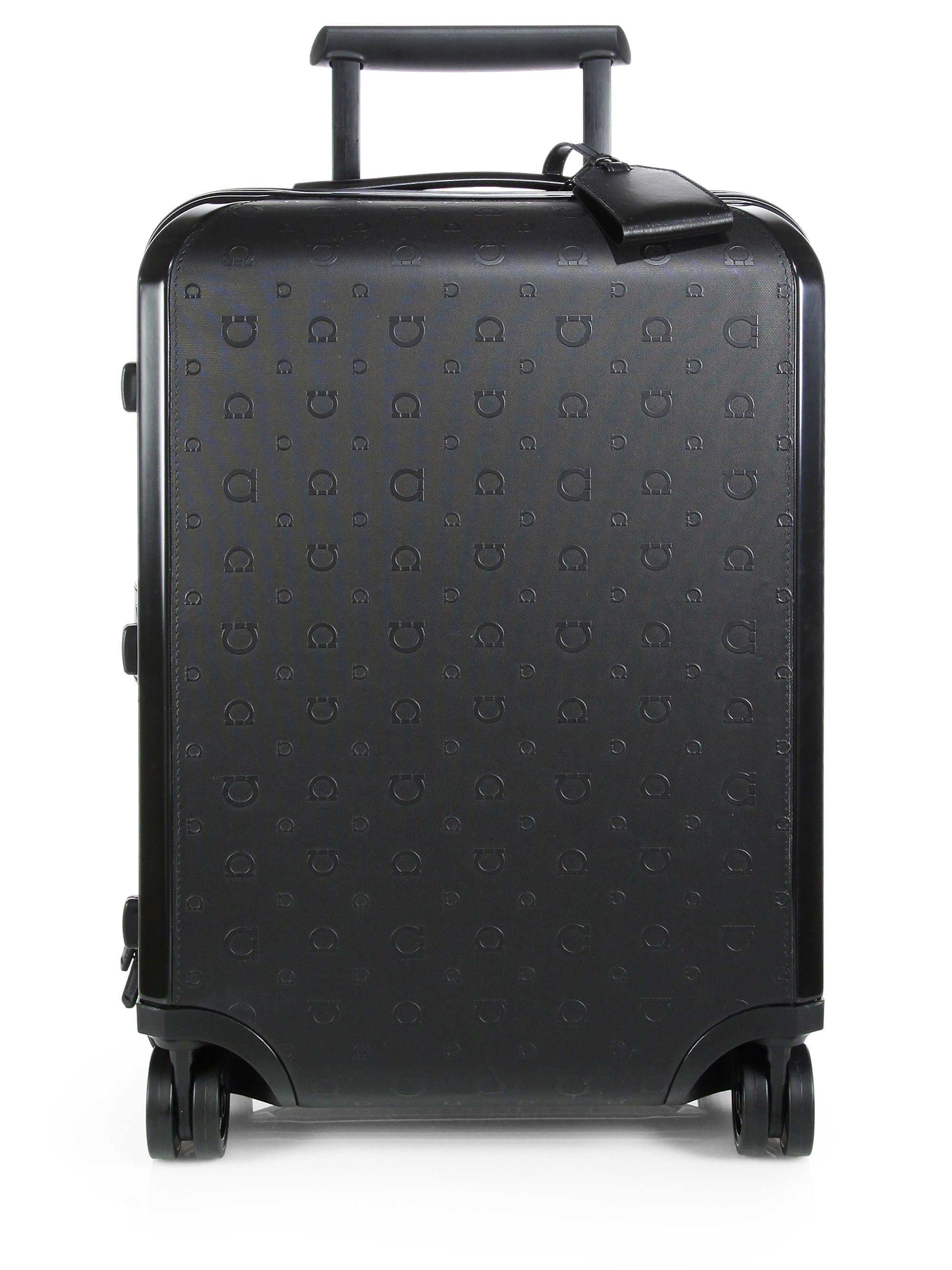 Ferragamo Cabin Four Wheeled Travel Trolley In Black For