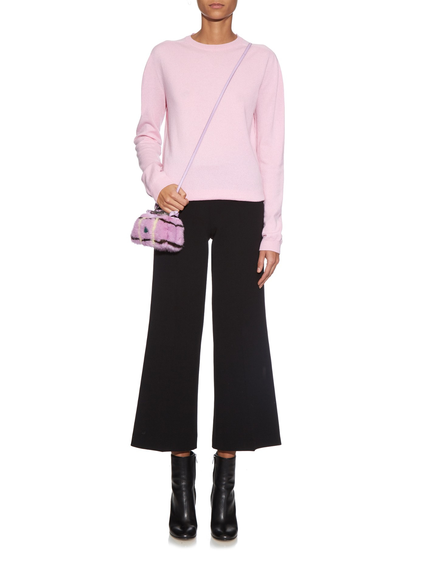 fb290683db0f Lyst - Fendi Micro Peekaboo Mink-fur Cross-body Bag in Purple