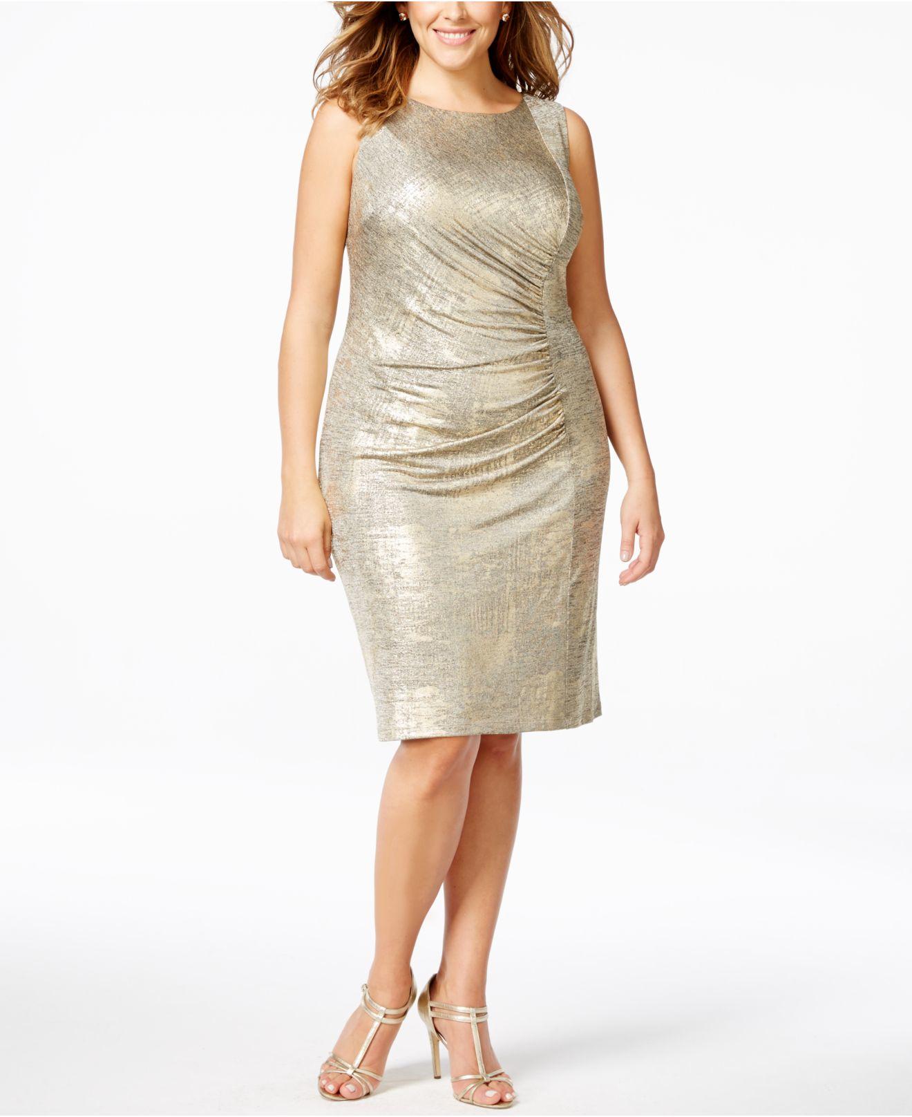 d92b8d14277 Lyst - Calvin Klein Plus Size Ruched Metallic Sheath Dress in Metallic