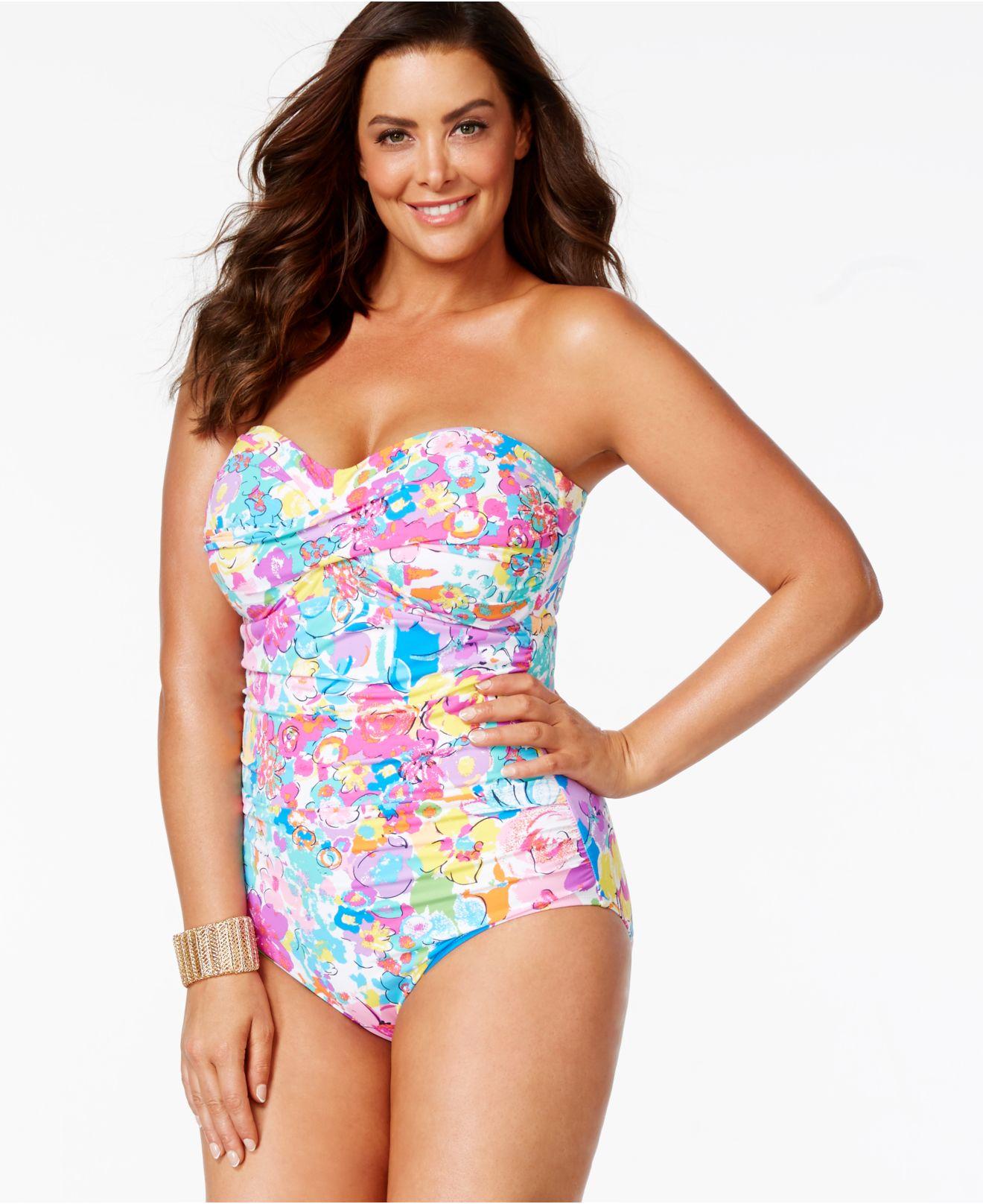 8cbf034165 Lyst - Anne Cole Plus Size Floral Bandeau One-piece Swimsuit