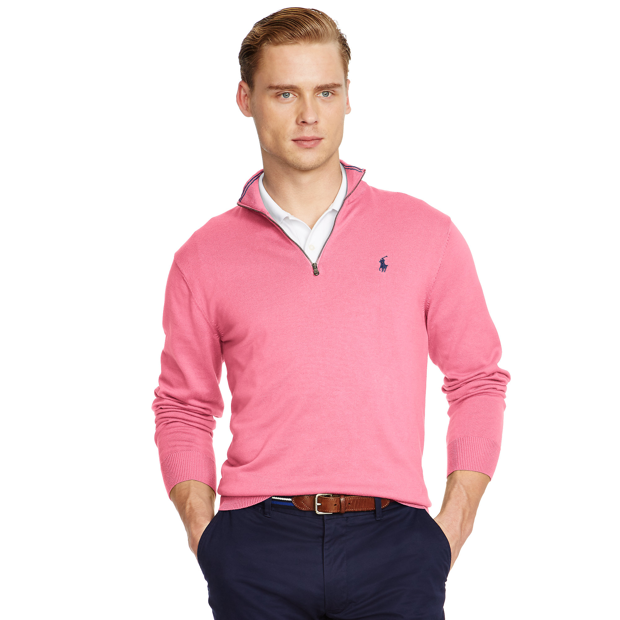 Pink pony Pima Cotton Half-zip Sweater in Pink for Men | Lyst