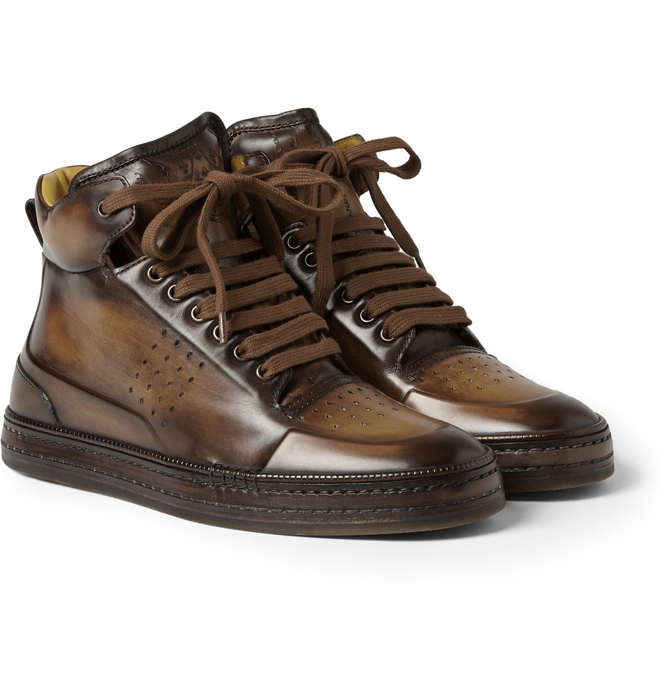 berluti playtime leather high top sneakers in brown for