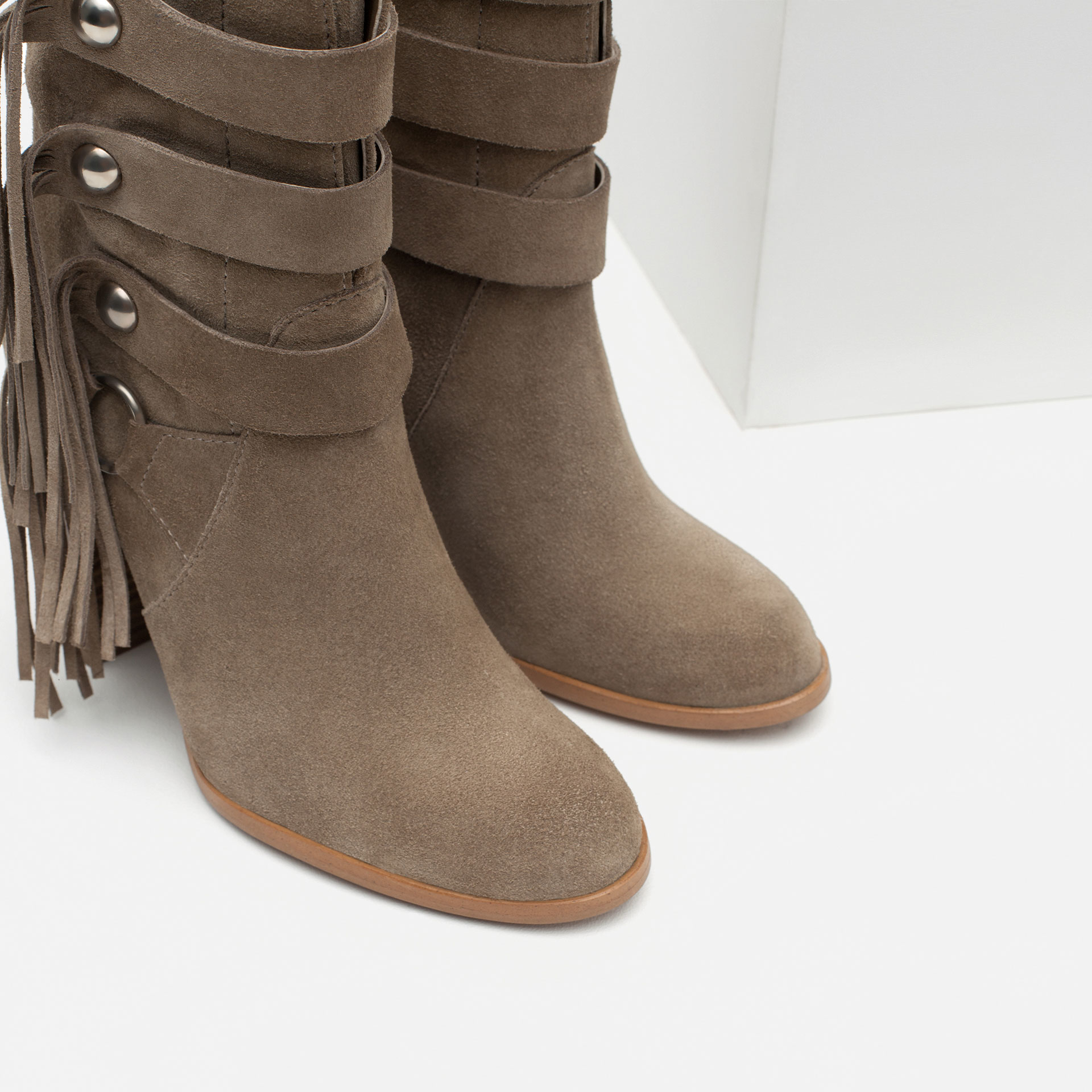 Zara High Heel Leather Ankle Boots With Fringes in Natural | Lyst