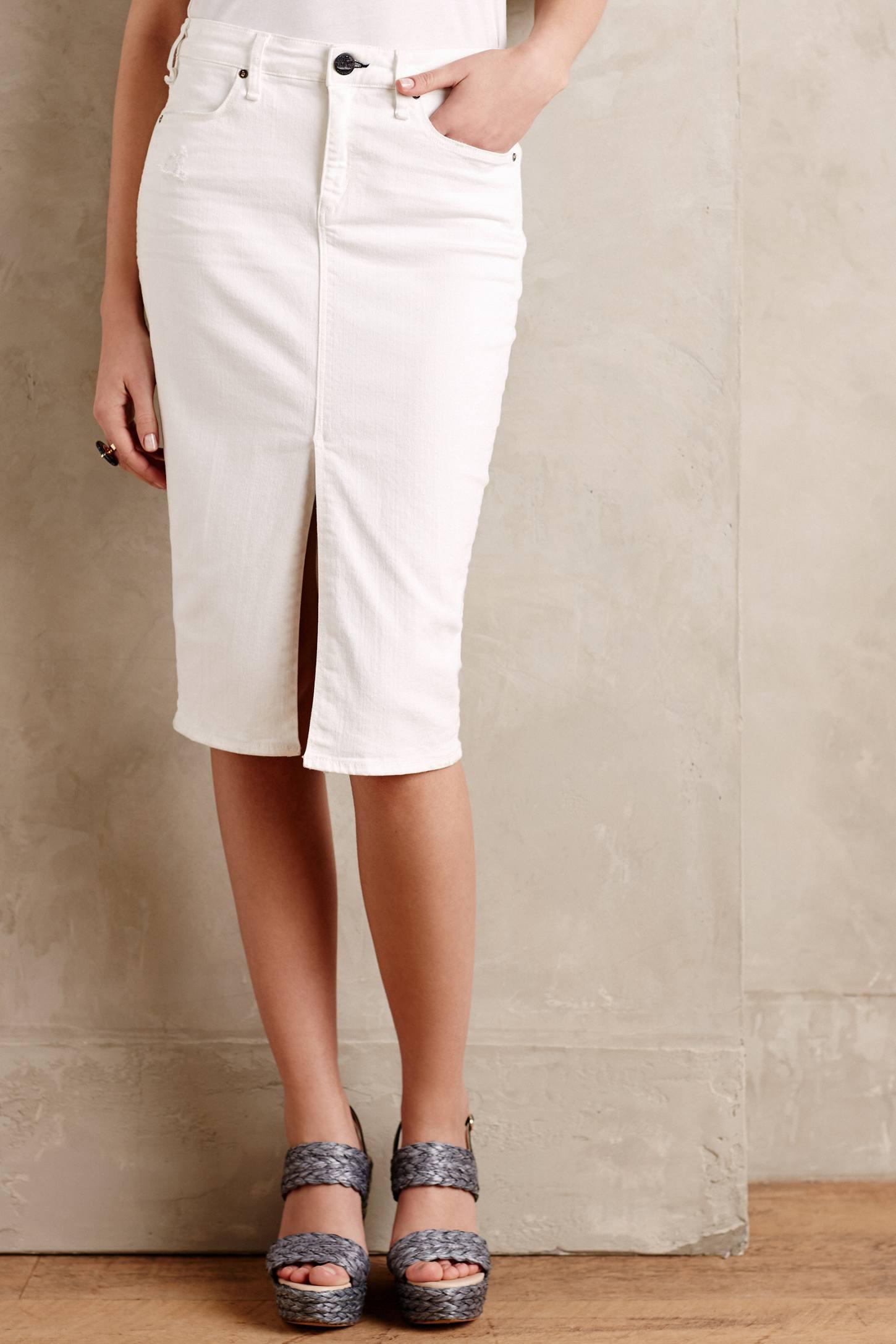 Mcguire Marino Denim Pencil Skirt in Natural | Lyst