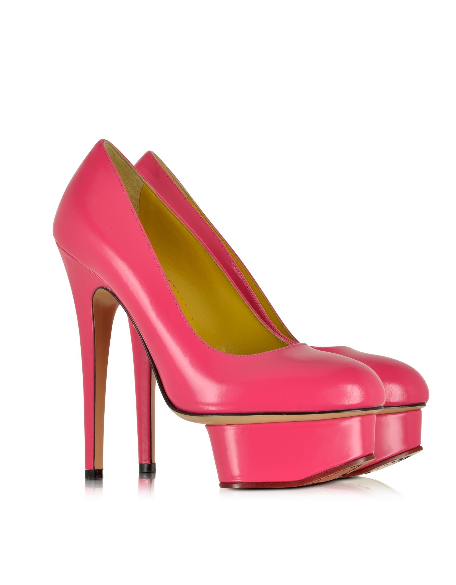 6f16b06f7a3 Lyst - Charlotte Olympia Dolly Shocking Pink Leather Platform Pump ...