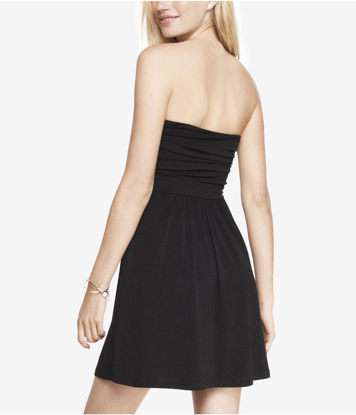 Strapless Ruched Black Mini Dress