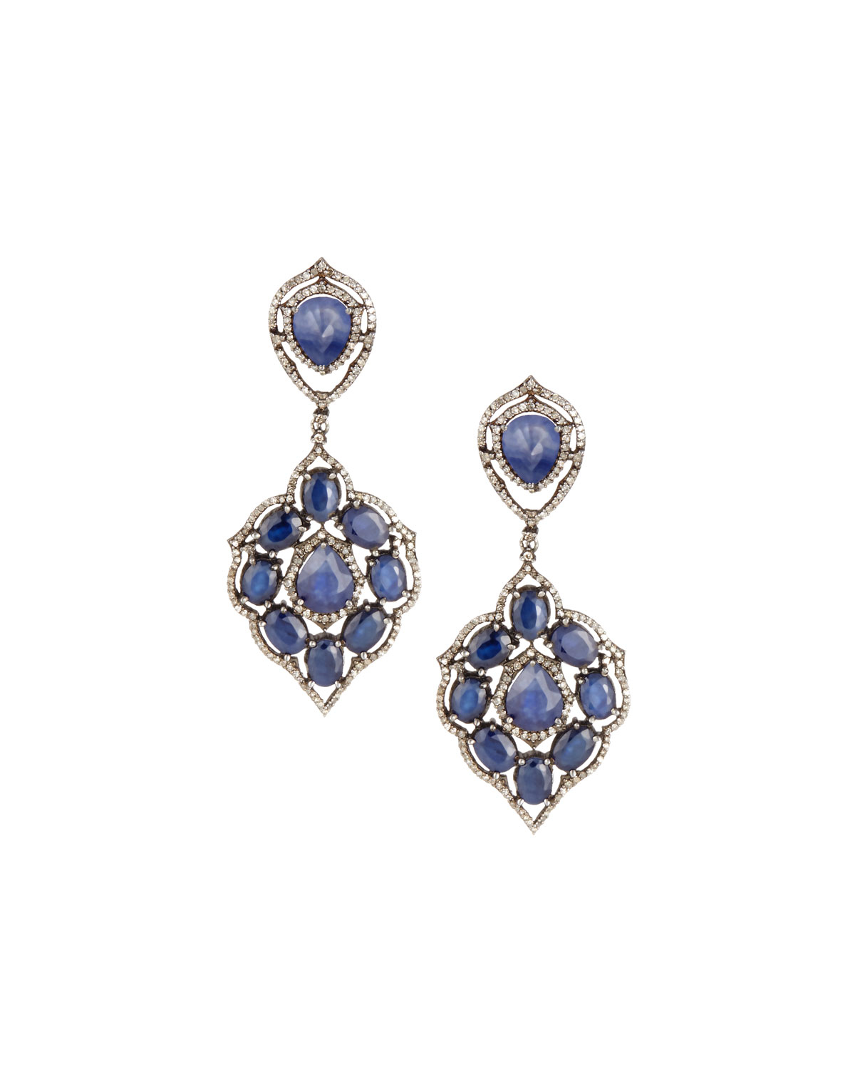 Bavna Diamond & Mixed Sapphire Drop Earrings SVfvaQ3U1