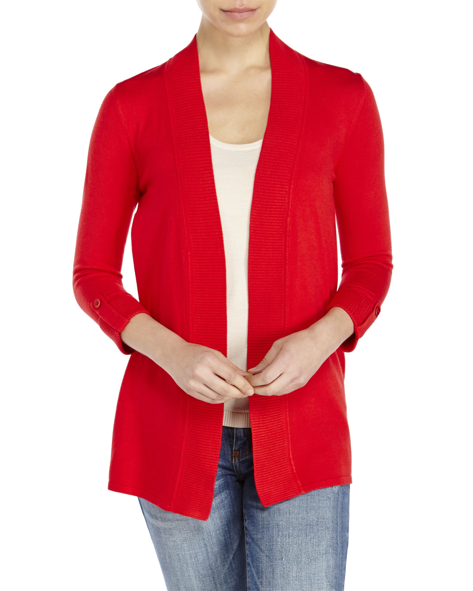 Premise studio Tab-Sleeve Open Cardigan in Red | Lyst